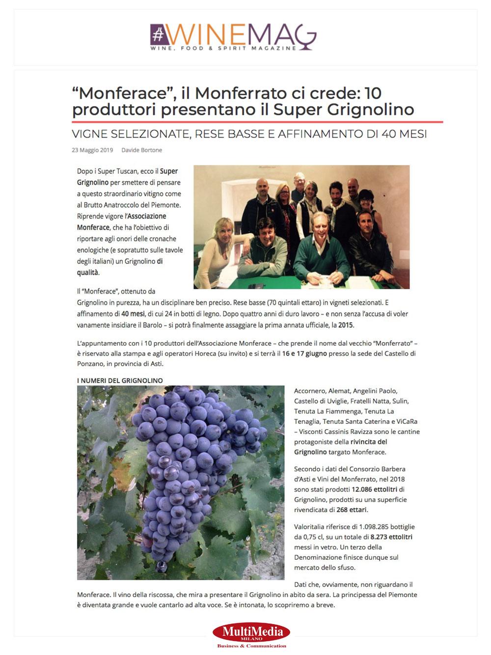 """""""Monferace"""", il monferrato ci crede: 10 produttori presentano il Super Grignolino"""